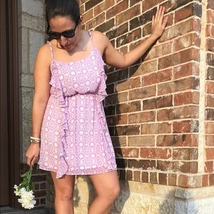 Forever 21 Rose colored pink floral ruffle dress